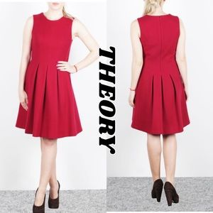 THEORY ❤️Adison stretch Wool Formal Dress Red